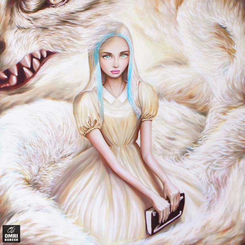 """Girl and Wolf, Oil, 39""""x39"""""""
