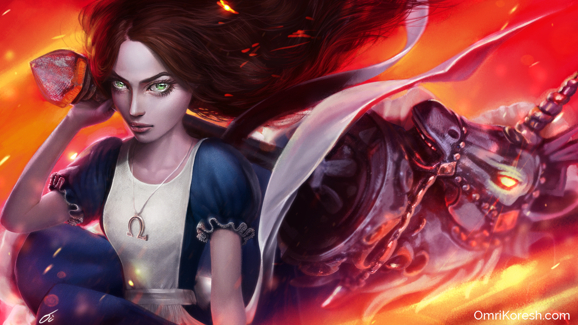 Alice madness returns, digital art, wallpaper, omri koresh, bobby horse