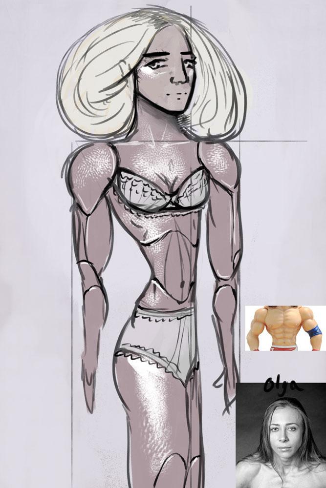sculpture, amazon, woman, strong, female, bodybuilder
