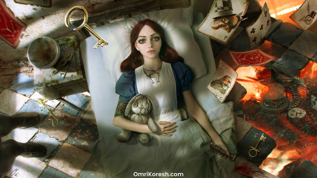 Wake Up Alice, Wake Up!, omri koresh, alice madness returns, ea games, wallpaper, hatter, cheshire, cat, alice, american mcgee, cards, keys, bumby, creepy, doll, dark wonderland, wonderland, alice in wonderland, alice in underland