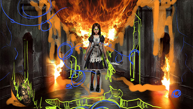 patreon, alice 3, alice asylum, american mcgee, conceptart, fire, alice, ash dress