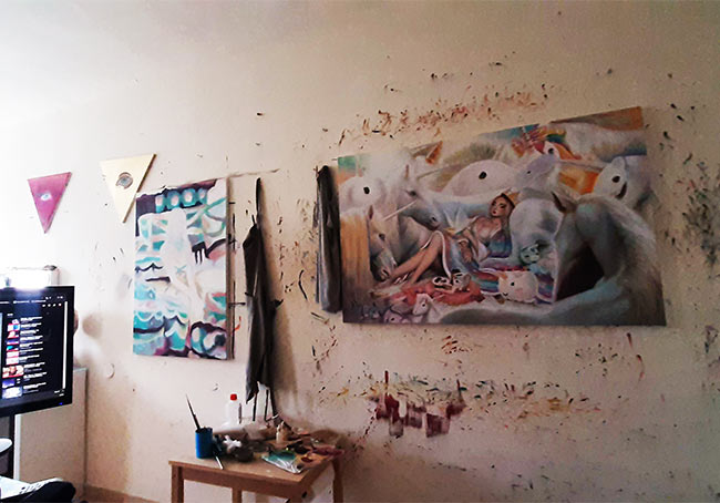 omri koresh, art studio, israeli artist, oil paintings